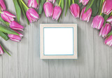 Spring Tulip Flowers with Blank Frame