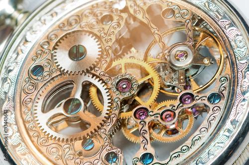 Leinwanddruck Bild close view of a vintage beautiful watch mechanism