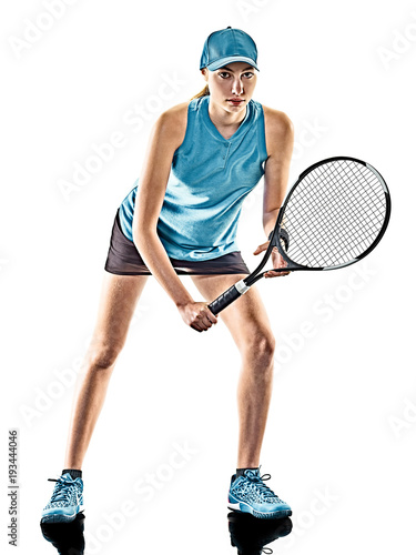 Fotobehang Tennis one young caucasian tennis woman isolated in silhouette on white background