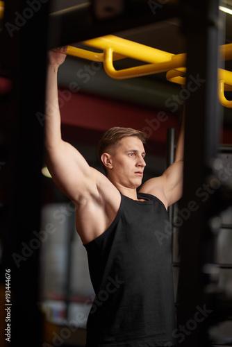 Sticker athlete in the gym