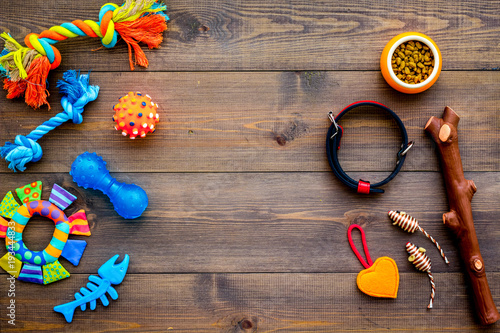 Pet accessories. Toys near bowls with animal feed, collar on dark wooden background top view copy space