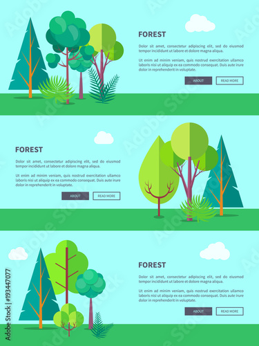 Deurstickers Lichtblauw Forest Vector Web Banner with Trees and Bushes
