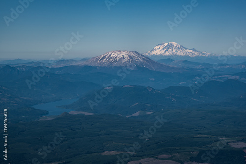 Fotobehang Nachtblauw Aerial view of cascade mountains