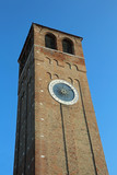 high clock tower in downtown of Chioggia Island near Venice in Italy - 193460256
