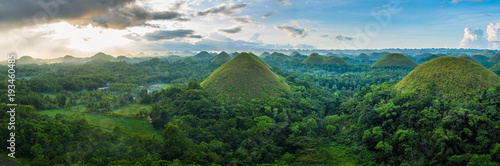 Tuinposter Natuur Chocolate Hills in Bohol island, Philippines during the sunrise