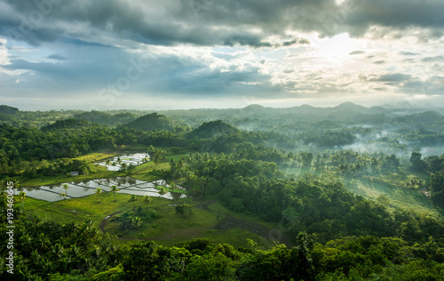 Sticker Chocolate Hills in Bohol island, Philippines during the sunrise