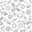 Cosmos. Seamless pattern in doodle and cartoon style.  - 193461297