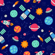 Cosmos. Seamless pattern in doodle and cartoon style. Color. Vector. EPS 8 - 193462087