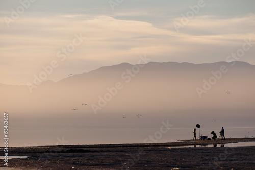 Foto op Aluminium Zee zonsondergang Sunset Salton Sea