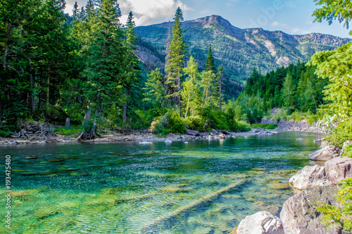 Foto op Canvas Bergen Beautiful Summer Day in Glacier National Park, Montana