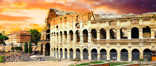 Aluminium Freesurf great Rome, panoramic view with Colosseo over sunset