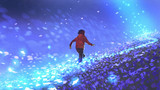 night scenery of the boy running on blue meadow with glowing petal of flowers, digital art style, illustration painting - 193481030