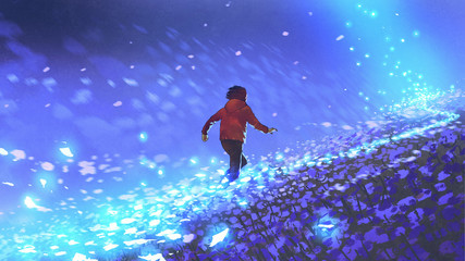 night scenery of the boy running on blue meadow with glowing petal of flowers, digital art style, illustration painting © grandfailure