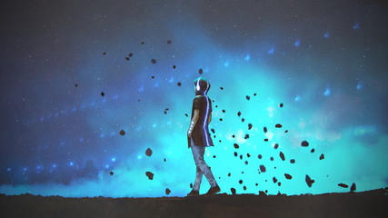 young man in futuristic clothing listening music and walking on blue background, digital art style, illustration painting © grandfailure
