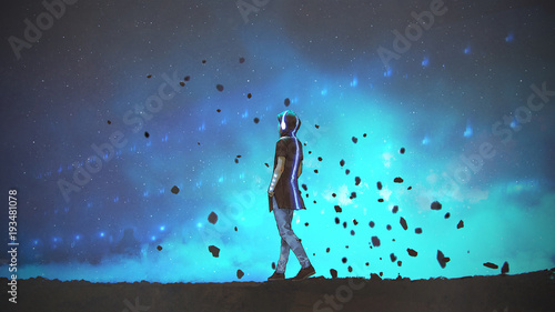 young man in futuristic clothing listening music and walking on blue background, digital art style, illustration painting