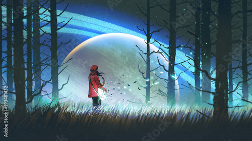 night scenery of young woman playing a magic guitar in the forest against glowing planet on background, digital art style, illustration painting © grandfailure