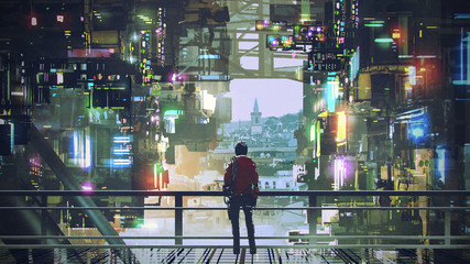 man standing on balcony looking at futuristic city with colorful light, digital art style, illustration painting © grandfailure