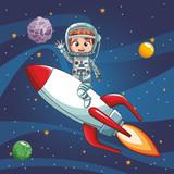 Astronaut boy flying on spaceship vector illustration graphic design - 193483646