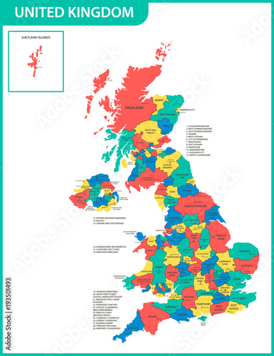 The detailed map of the United Kingdom with regions or states and ...