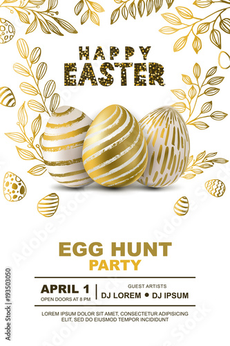 easter egg hunt party vector poster design template golden 3d eggs