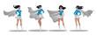 Comic superwoman actions in different poses. Female superhero vector cartoon characters. Illustration of superhero woman cartoon