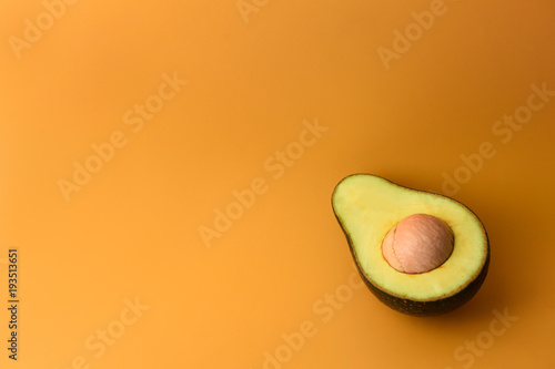 close up of avocado sliced in half for background - 193513651