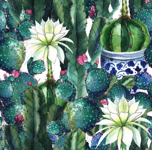 Cactus. Watercolor seamless pattern - 193515216