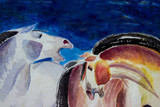 Abstract watercolor paintings the brush stroke colorful of horse