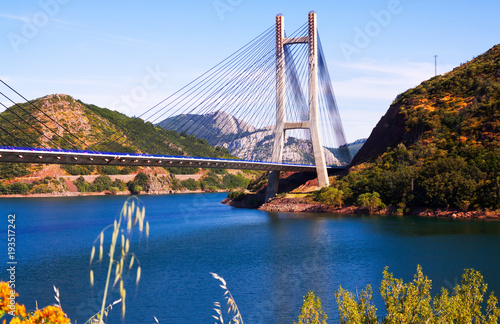 Fotobehang Blauwe hemel View of cable-stayed bridg
