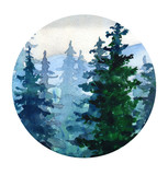 .Watercolor landscape with Pine forest, mountains - 193517430