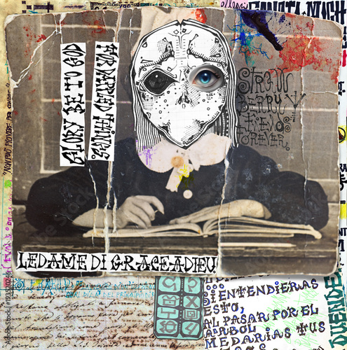 Fotobehang Imagination Ghost and weird. Mysterious,macabre and esoteric collage series.