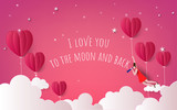 illustration of love and valentine day,Hot air balloon flying over cloudy with the moon and stars on the sky.paper art style - 193520472