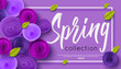 Spring fashion banner with handwritten calligraphy inscription and origami paper flowers for online shopping, sale poster. Vector illustration