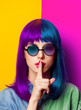 Young girl with purple hair and sunglasses