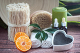 Аnti-cellulite, organic, bio, natural cosmetics. Remedy for cellulite massage, spa. Natural oils and massage brush, blue clay