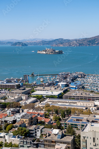 Fotobehang San Francisco View of Alcatraz Island from Coit Tower in San Francsico
