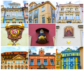 Collage from fragments of facades of old houses and old architecture in old town