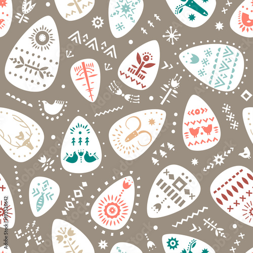Materiał do szycia Vector hand drawn Easter pattern of ornamented eggs in Scandinavian style.