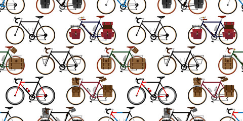 bicycle Seamless Pattern vector cycling isolated wallpaper vintage touring bicycle background