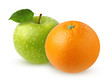 Green Apple with leaf and orange, isolated on white