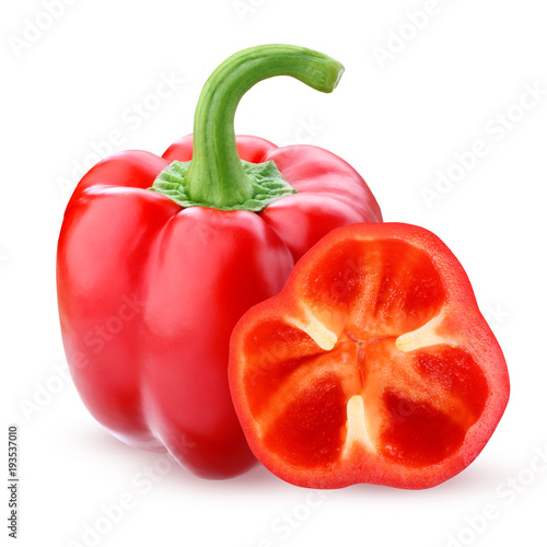 Red bell pepper, isolated on a white background. - 193537010