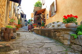 Beautiful old street with flowers in Hum, smallest town in the world, Istria, Croatia
