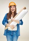 Smiling woman builder student holding paper blueprint - 193539874