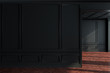 Black empty room interior, wooden floor, wall