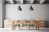 Wooden dining table with design chairs - 193545624