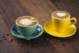 various coffee art latte
