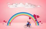 Red heart flower on pink background with  couple riding bicycle on romantic travel honeymoon vacation summer holidays romance. Cloudy over the rainbow.Love concept. Happy Valentine's Day wallpaper. - 193548288