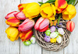 Easter eggs and tulips
