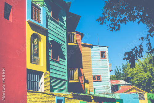Fotobehang Buenos Aires Colorful area in La Boca neighborhoods in Buenos Aires. Street is a major tourist attraction & the area is filled with colorfully painted buildings.