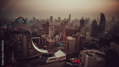 Foto op Aluminium New York Drone view of Bangkok centre